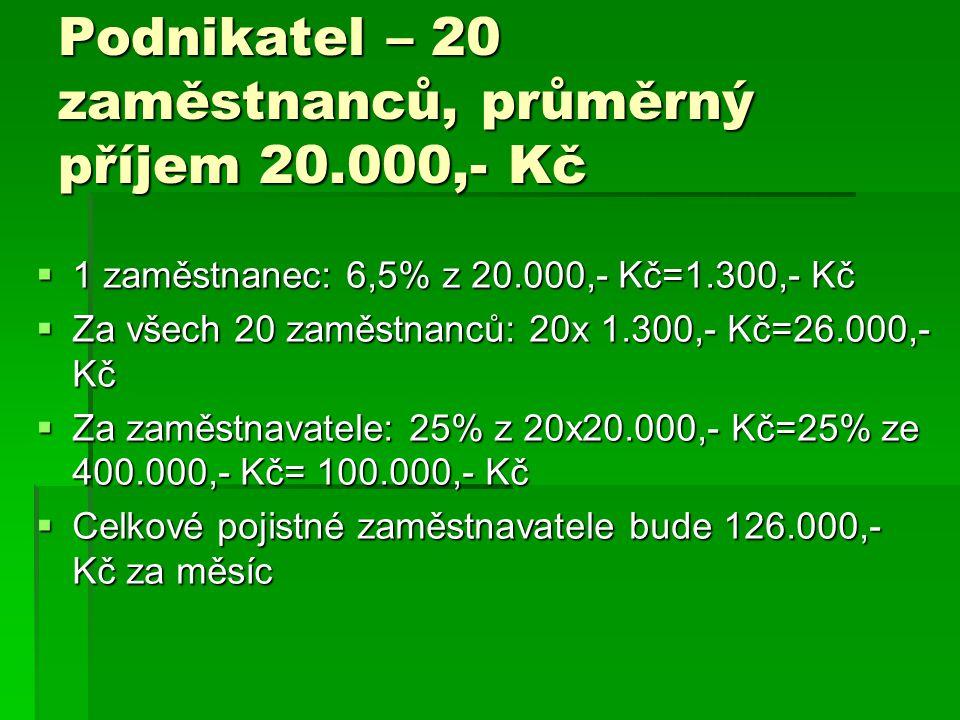 Podnikatel – 20 zaměstnanců, průměrný příjem 20.000,- Kč