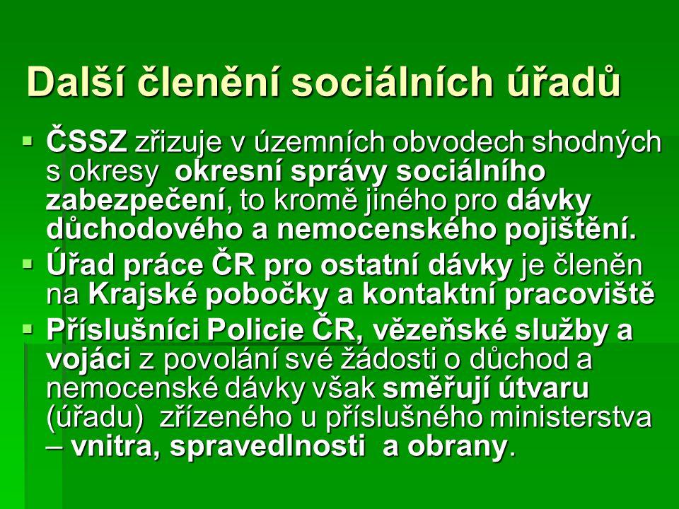 Další členění sociálních úřadů