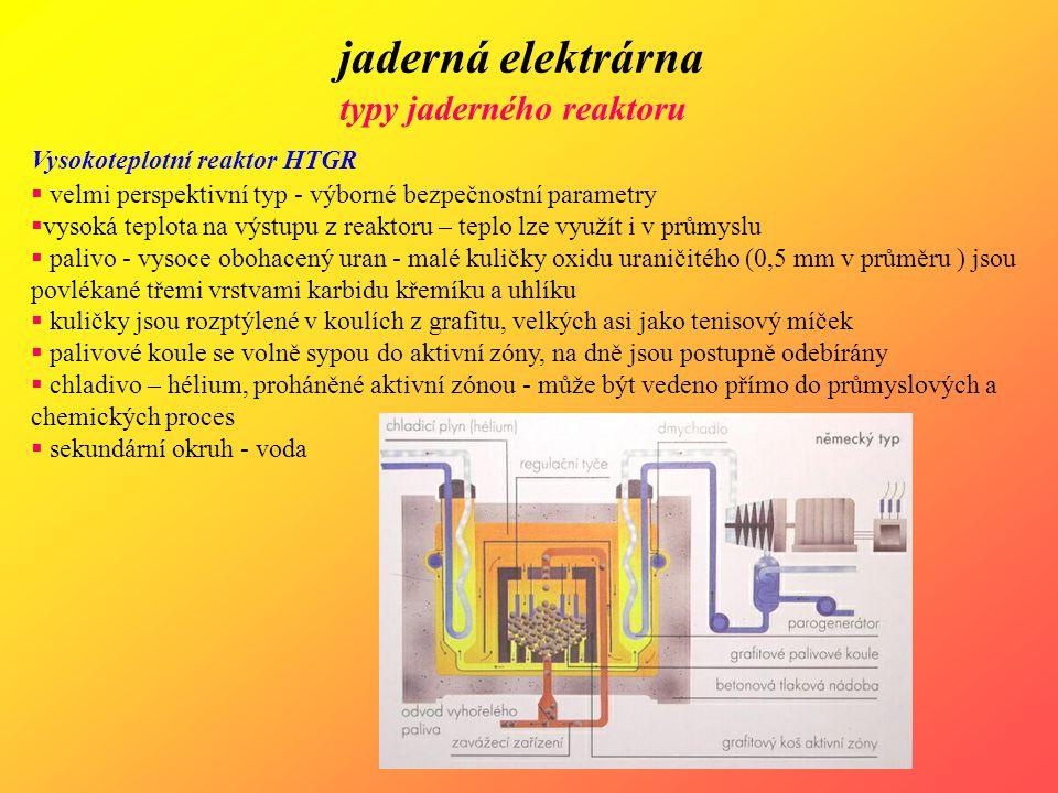 jaderná elektrárna typy jaderného reaktoru Vysokoteplotní reaktor HTGR