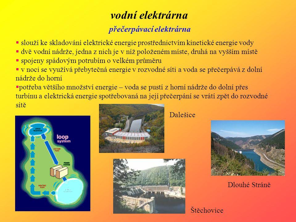 vodní elektrárna přečerpávací elektrárna