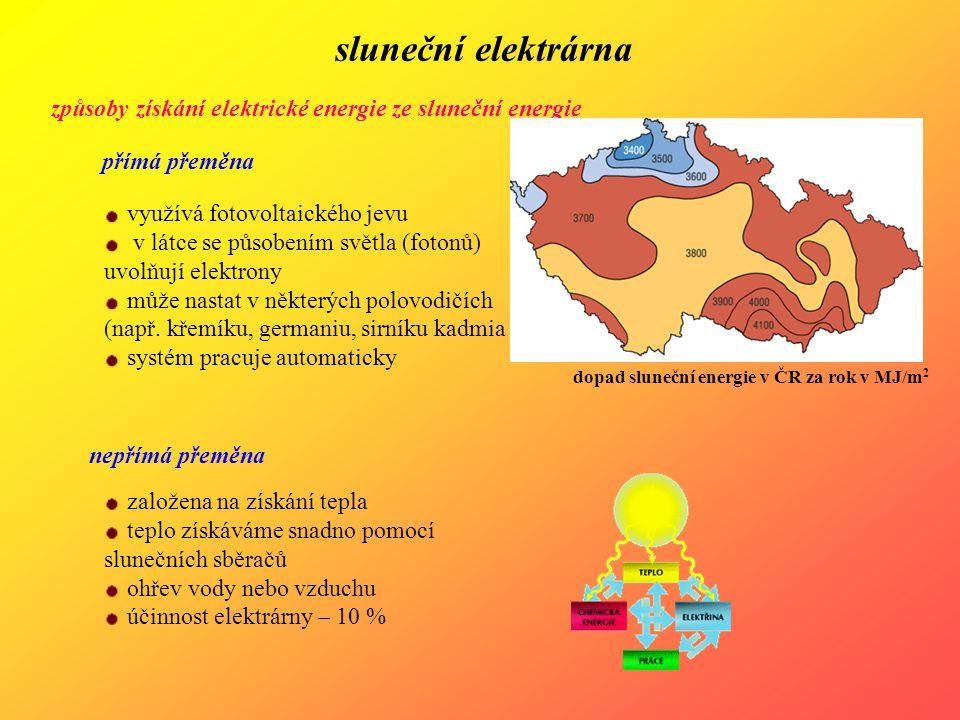 sluneční elektrárna způsoby získání elektrické energie ze sluneční energie. přímá přeměna. využívá fotovoltaického jevu.