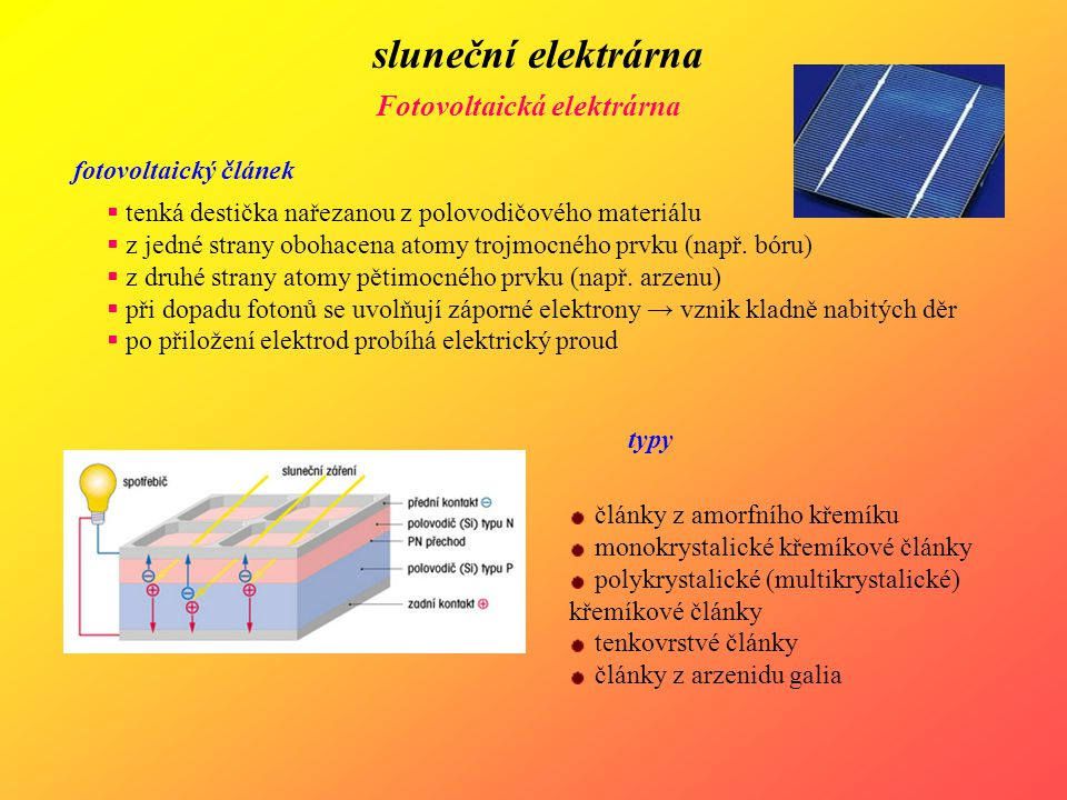 sluneční elektrárna Fotovoltaická elektrárna fotovoltaický článek