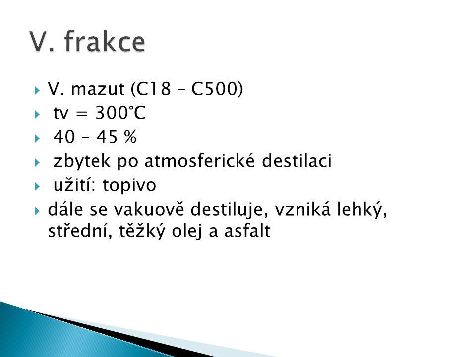 V. frakce V. mazut (C18 – C500) tv = 300°C 40 – 45 %