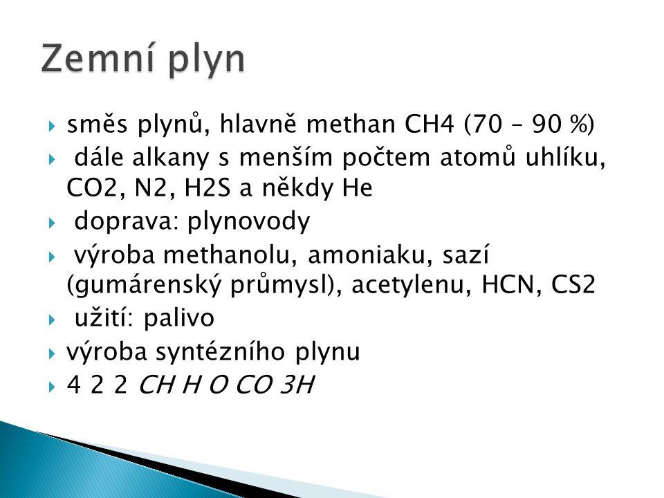 Zemní plyn směs plynů, hlavně methan CH4 (70 – 90 %)