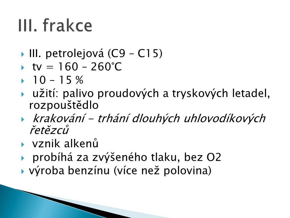 III. frakce III. petrolejová (C9 – C15) tv = 160 – 260°C 10 – 15 %
