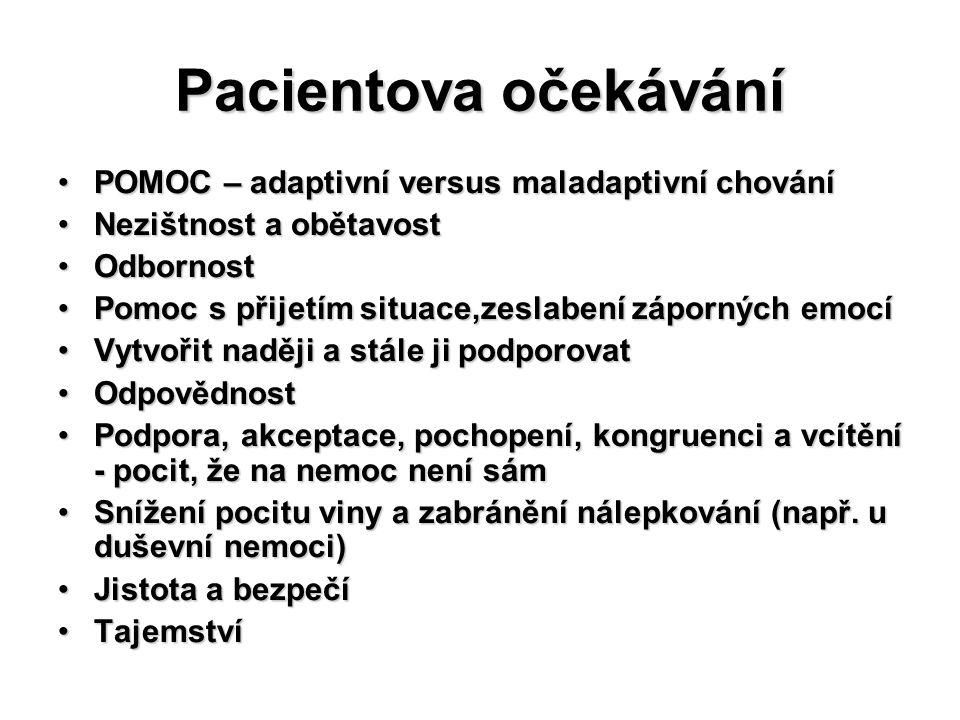 Pacientova očekávání POMOC – adaptivní versus maladaptivní chování