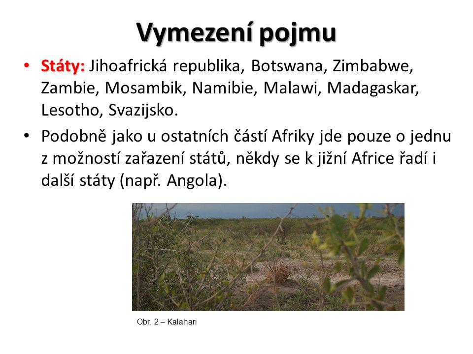Vymezení pojmu Státy: Jihoafrická republika, Botswana, Zimbabwe, Zambie, Mosambik, Namibie, Malawi, Madagaskar, Lesotho, Svazijsko.