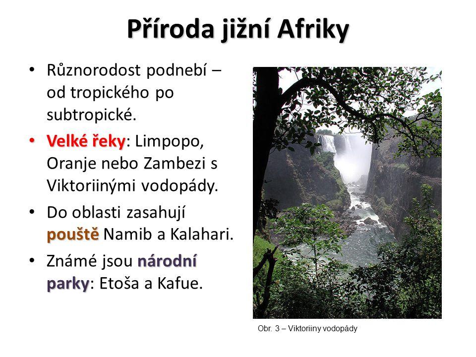 Příroda jižní Afriky Různorodost podnebí – od tropického po subtropické. Velké řeky: Limpopo, Oranje nebo Zambezi s Viktoriinými vodopády.
