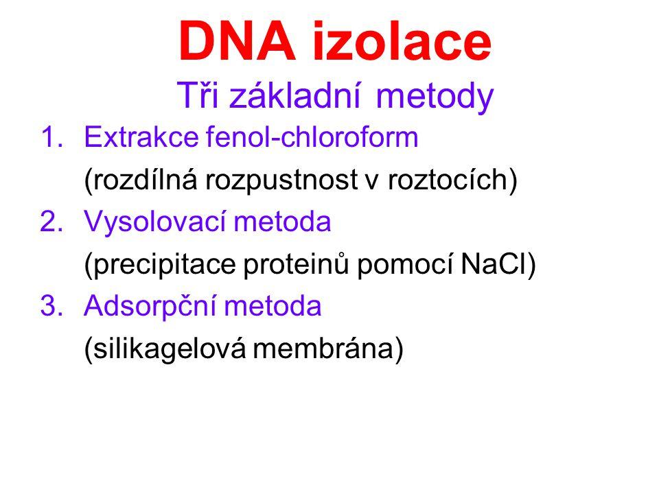 DNA izolace Tři základní metody