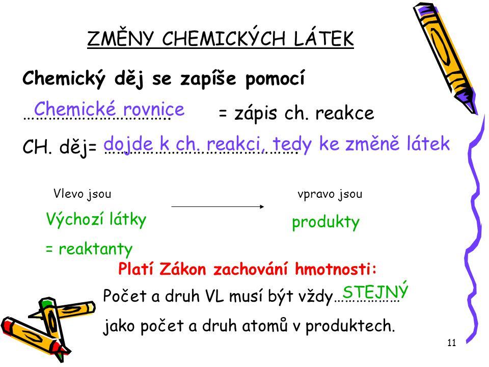 ZMĚNY CHEMICKÝCH LÁTEK
