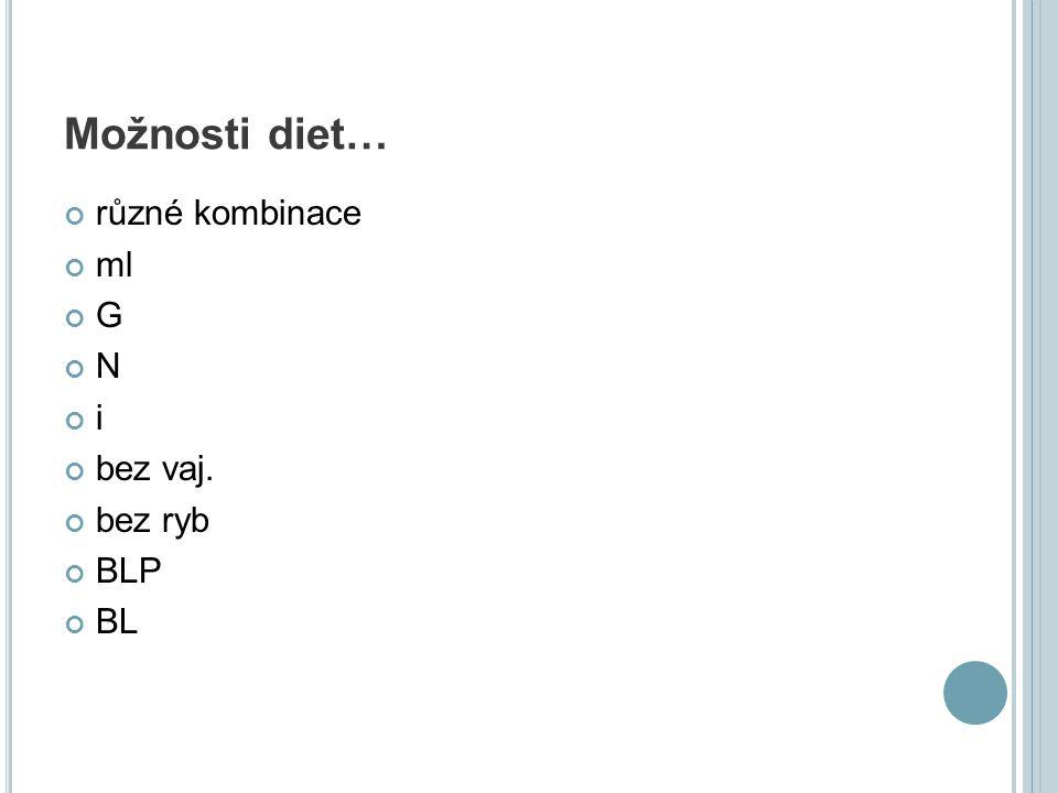 Možnosti diet… různé kombinace ml G N i bez vaj. bez ryb BLP BL