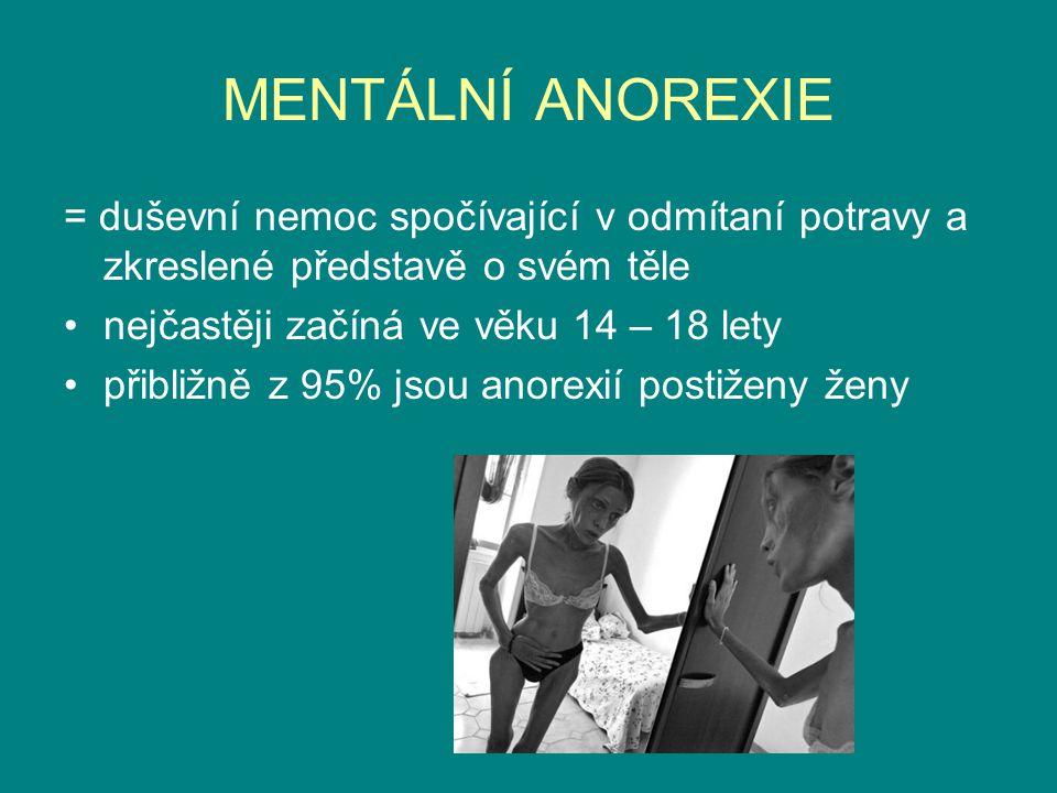 MENTÁLNÍ ANOREXIE = duševní nemoc spočívající v odmítaní potravy a zkreslené představě o svém těle.