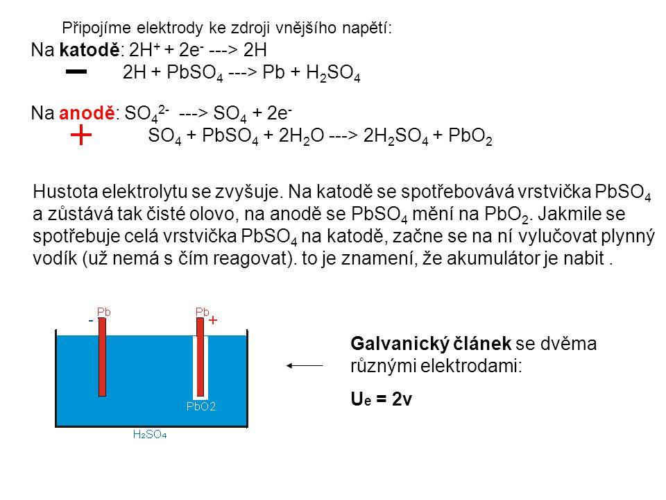 Na katodě: 2H+ + 2e- ---> 2H 2H + PbSO4 ---> Pb + H2SO4