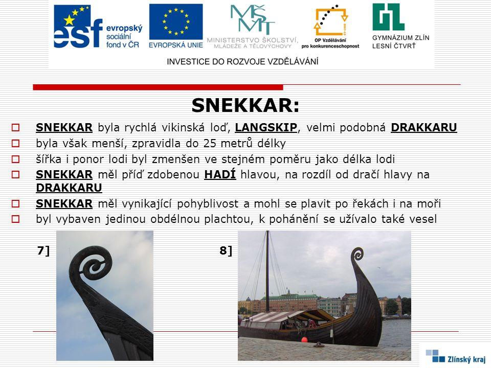 SNEKKAR: SNEKKAR byla rychlá vikinská loď, LANGSKIP, velmi podobná DRAKKARU. byla však menší, zpravidla do 25 metrů délky.