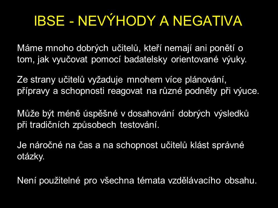 IBSE - NEVÝHODY A NEGATIVA