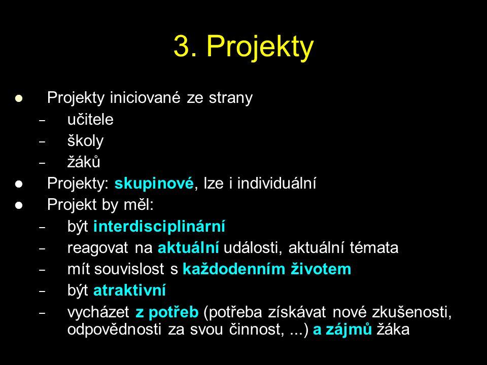 3. Projekty Projekty iniciované ze strany učitele školy žáků