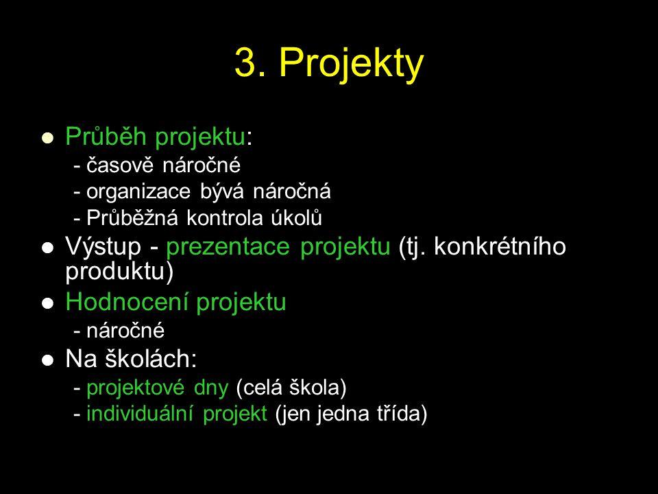 3. Projekty Průběh projektu: