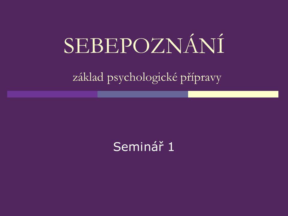 SEBEPOZNÁNÍ základ psychologické přípravy