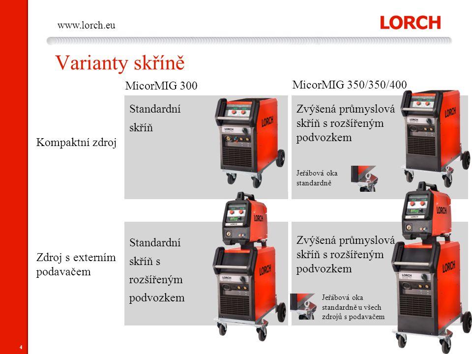 Varianty skříně MicorMIG 300 MicorMIG 350/350/400 Standardní skříň