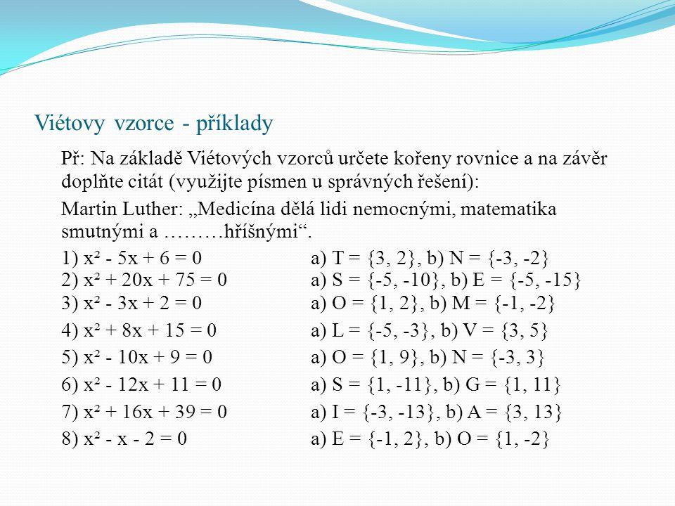 Viétovy vzorce - příklady