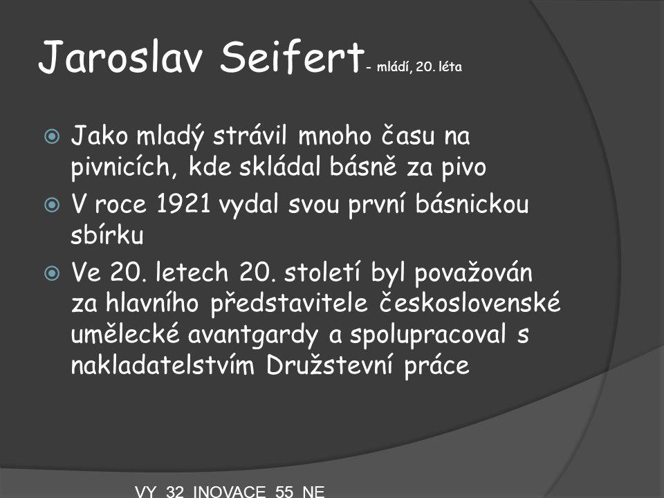 Jaroslav Seifert- mládí, 20. léta