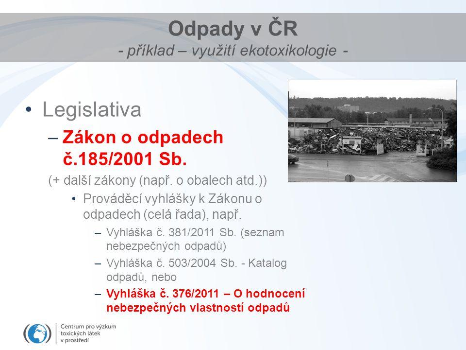 Odpady v ČR - příklad – využití ekotoxikologie -