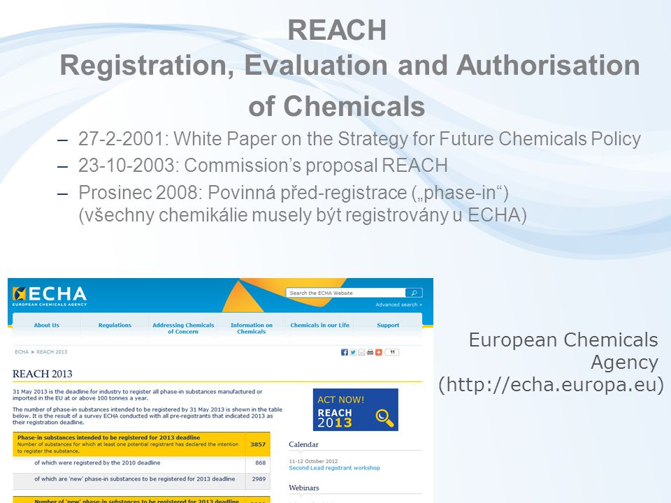 REACH Registration, Evaluation and Authorisation