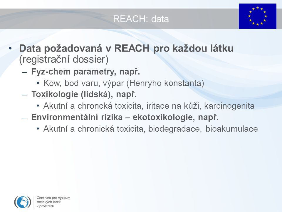 Data požadovaná v REACH pro každou látku (registrační dossier)