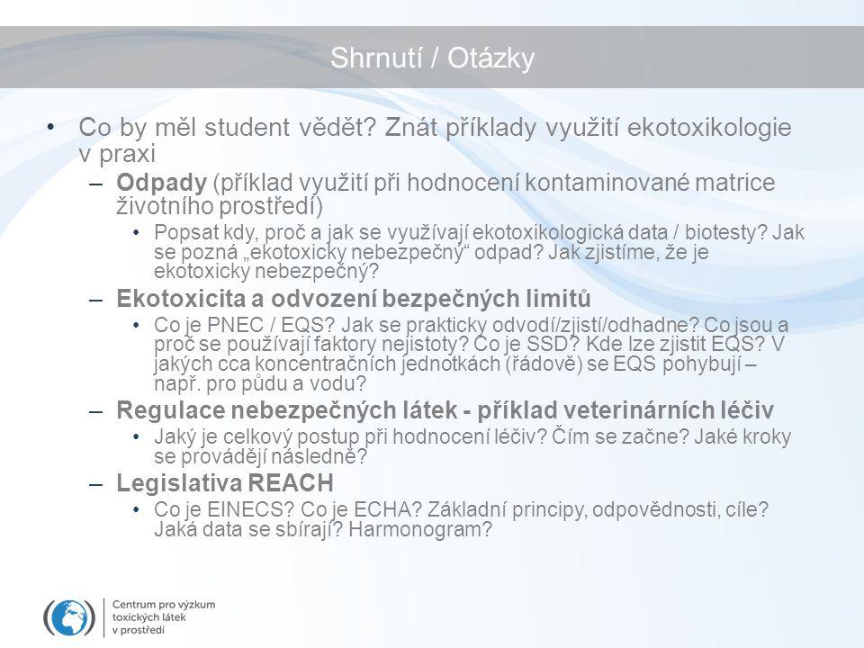 Shrnutí / Otázky Co by měl student vědět Znát příklady využití ekotoxikologie v praxi.