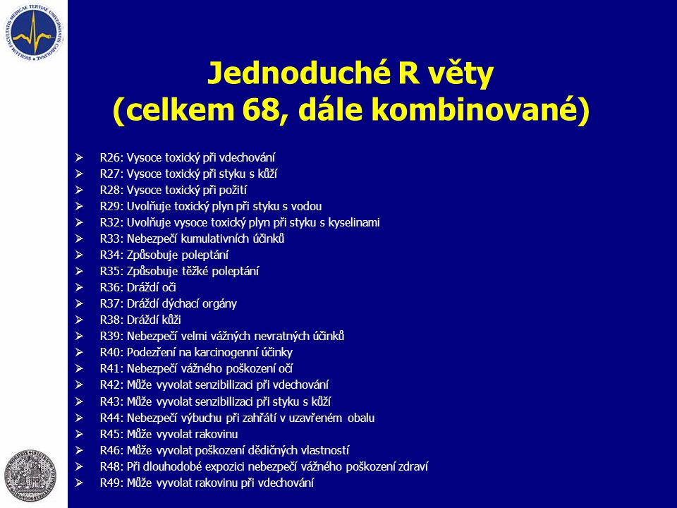 Jednoduché R věty (celkem 68, dále kombinované)