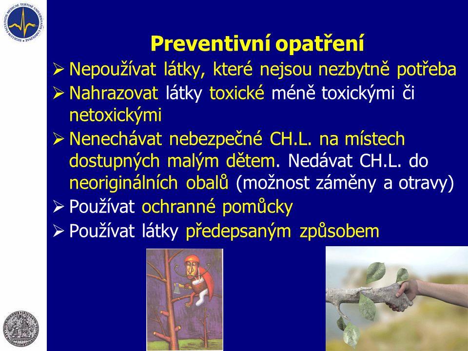 Preventivní opatření Nepoužívat látky, které nejsou nezbytně potřeba