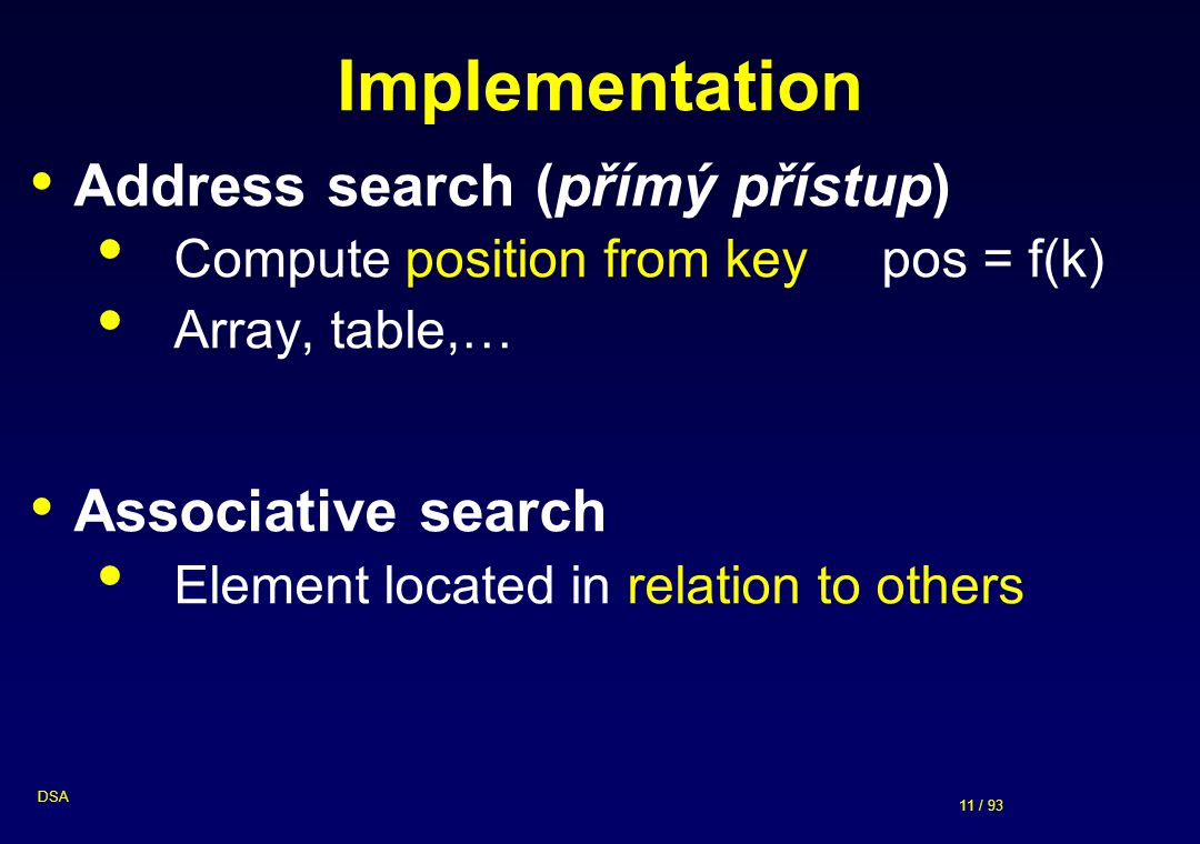 Implementation Address search (přímý přístup) Associative search