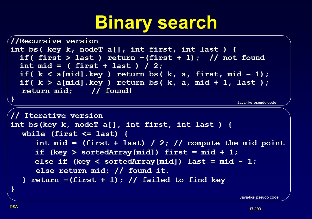 Binary search //Recursive version