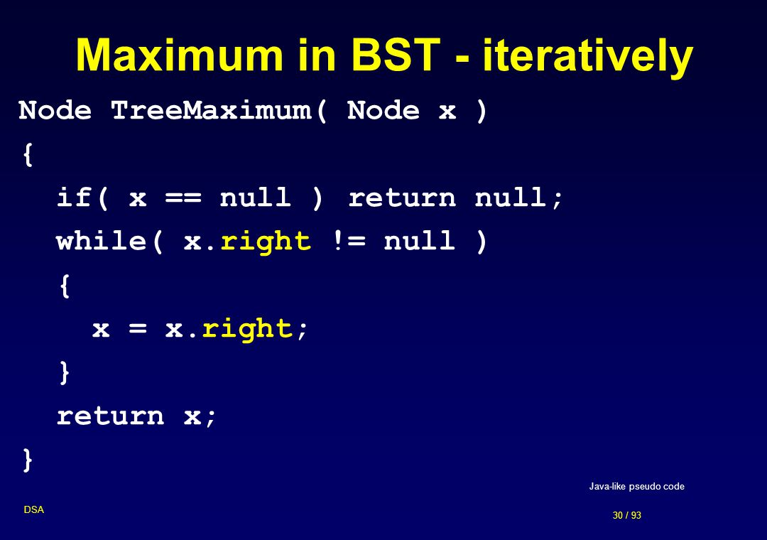 Maximum in BST - iteratively