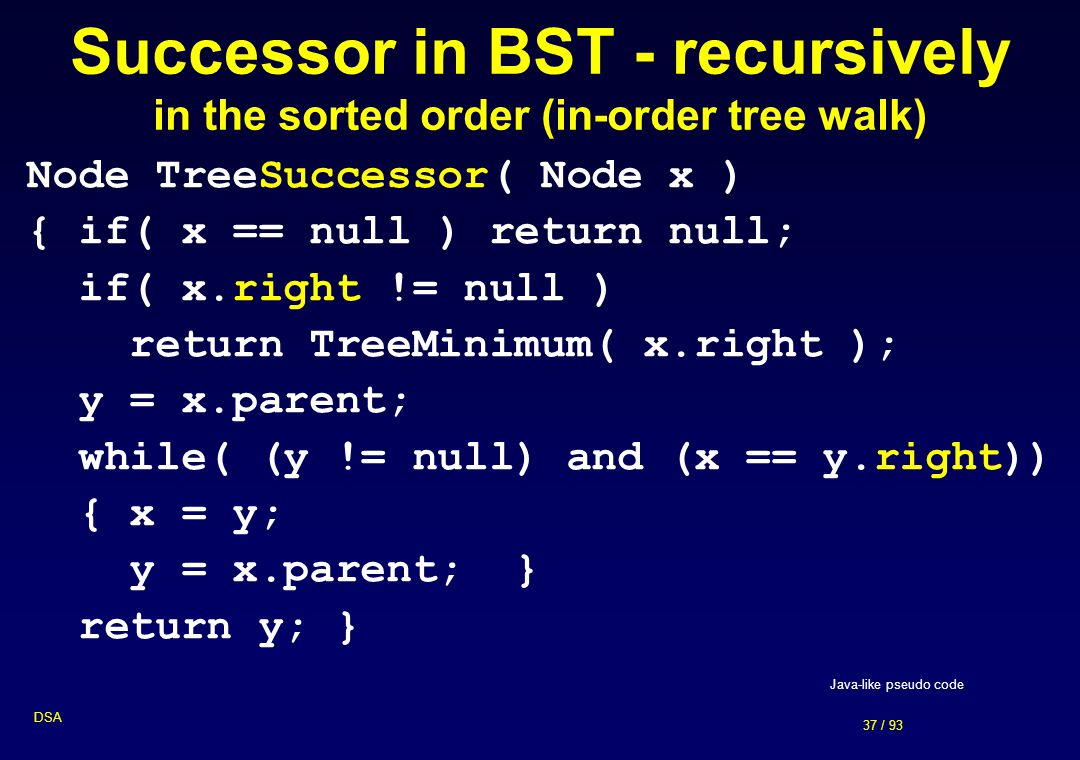 Successor in BST - recursively in the sorted order (in-order tree walk)