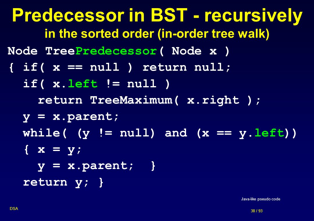 Predecessor in BST - recursively in the sorted order (in-order tree walk)