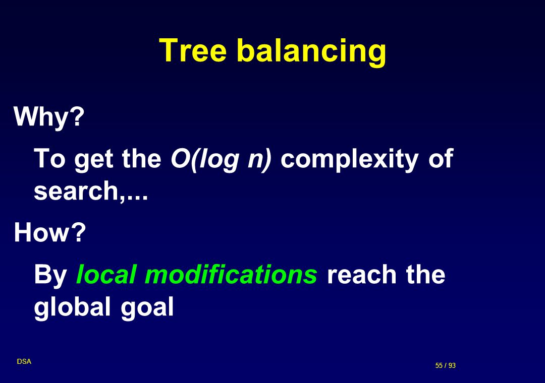 Tree balancing Why To get the O(log n) complexity of search,... How