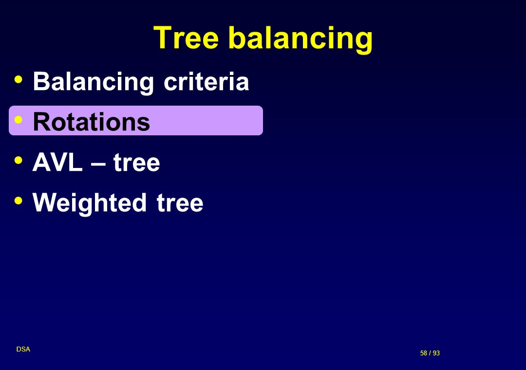 Tree balancing Balancing criteria Rotations AVL – tree Weighted tree