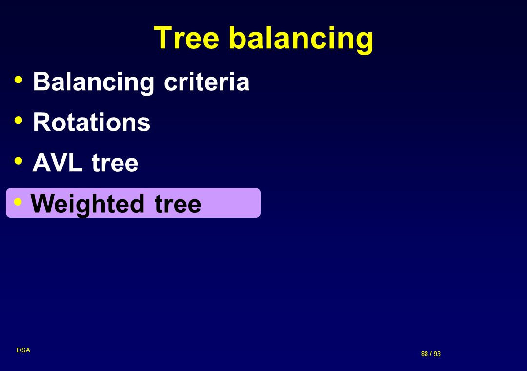 Tree balancing Balancing criteria Rotations AVL tree Weighted tree