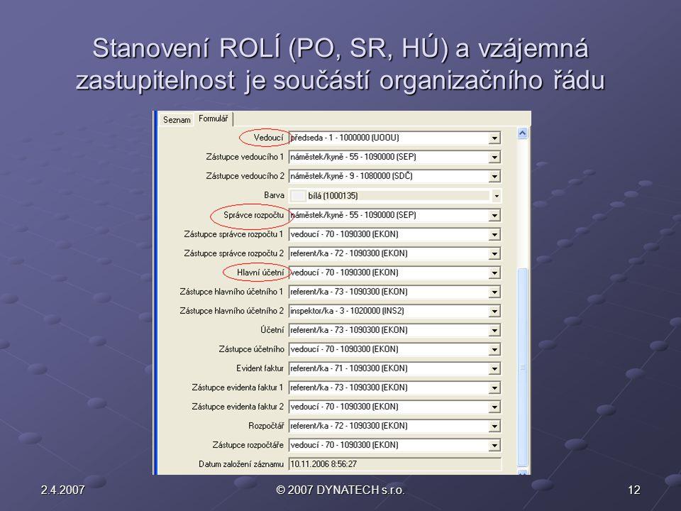 Stanovení ROLÍ (PO, SR, HÚ) a vzájemná zastupitelnost je součástí organizačního řádu
