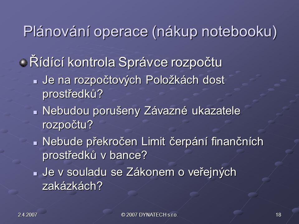 Plánování operace (nákup notebooku)