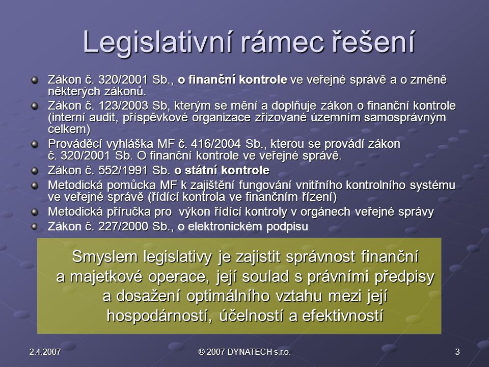 Legislativní rámec řešení