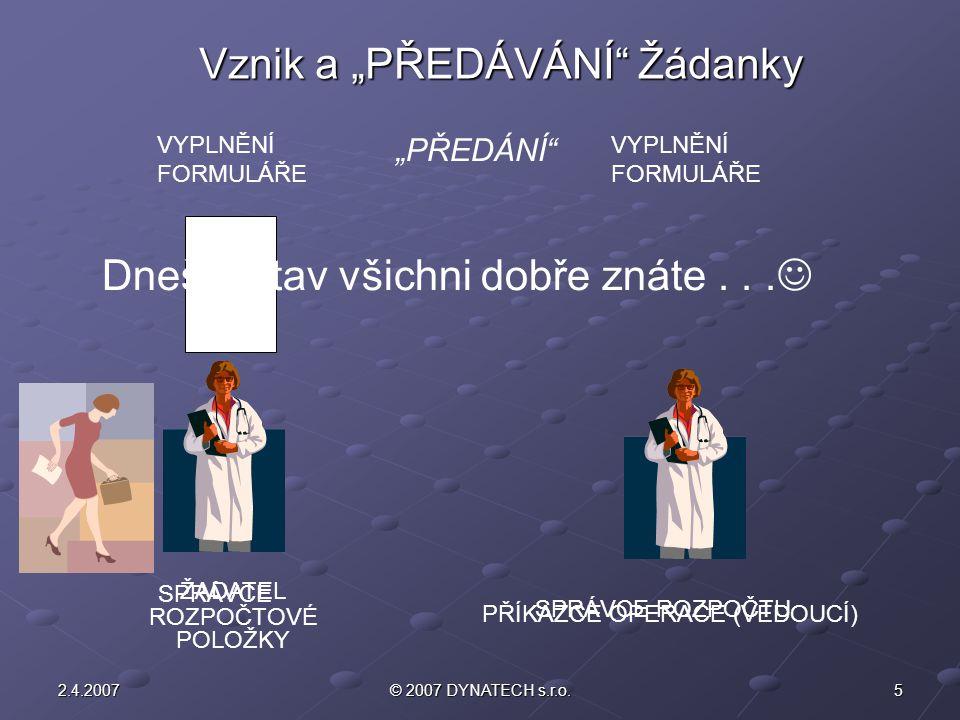 """Vznik a """"PŘEDÁVÁNÍ Žádanky"""