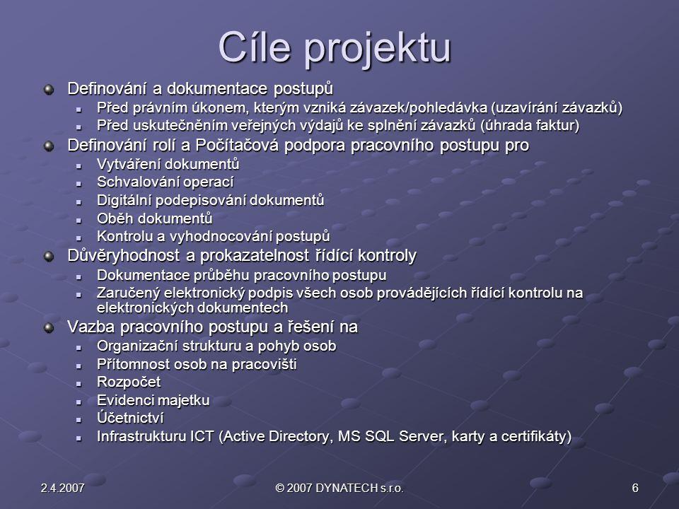 Cíle projektu Definování a dokumentace postupů