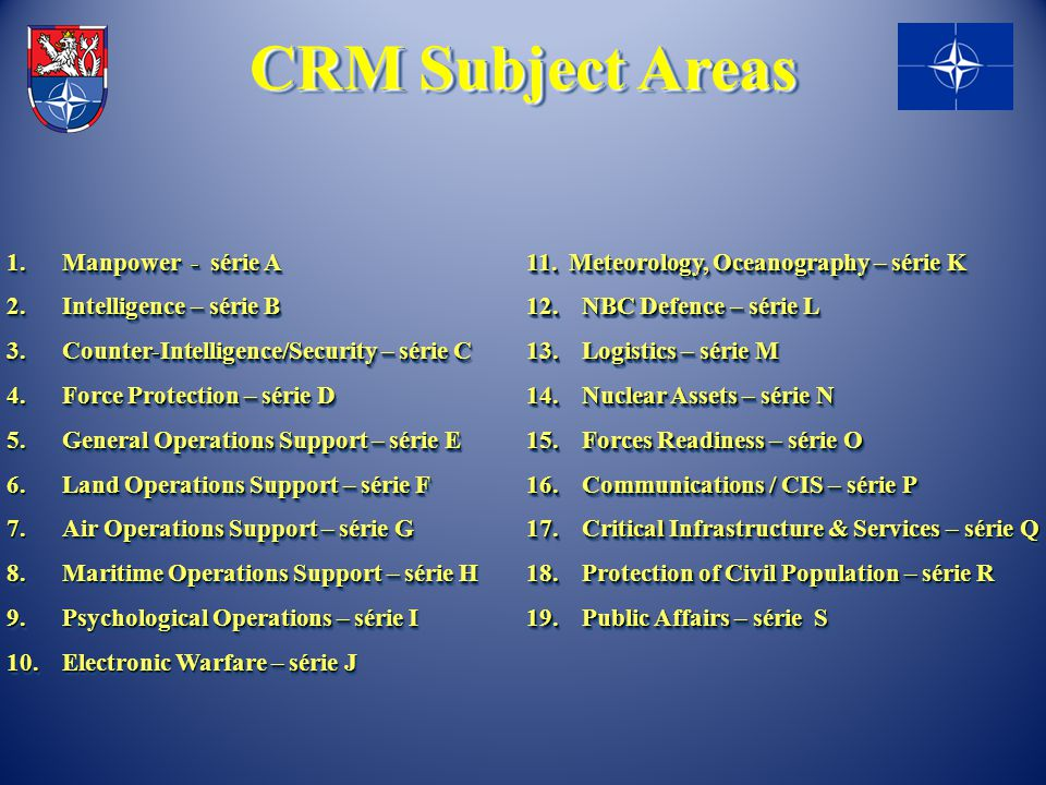 CRM Subject Areas 1. Manpower - série A 2. Intelligence – série B