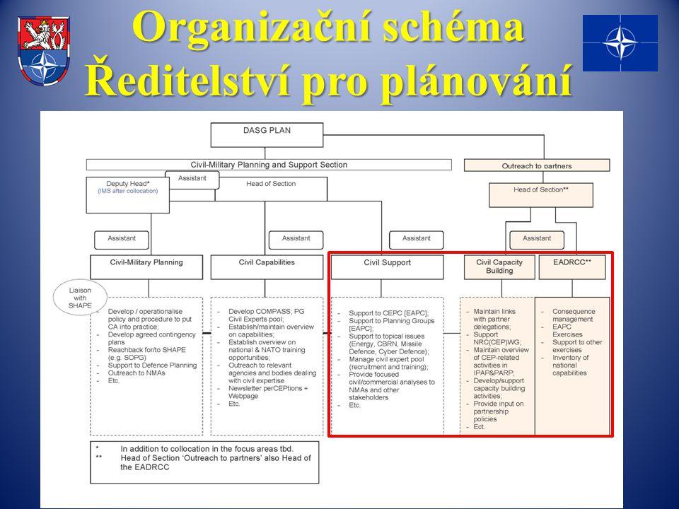 Organizační schéma Ředitelství pro plánování