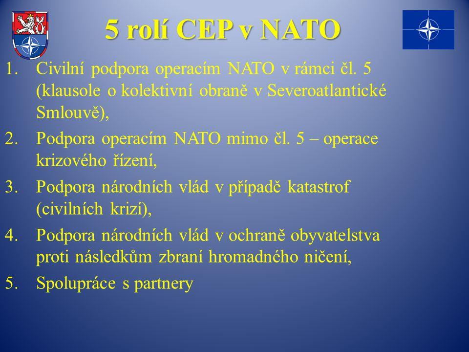 5 rolí CEP v NATO Civilní podpora operacím NATO v rámci čl. 5 (klausole o kolektivní obraně v Severoatlantické Smlouvě),