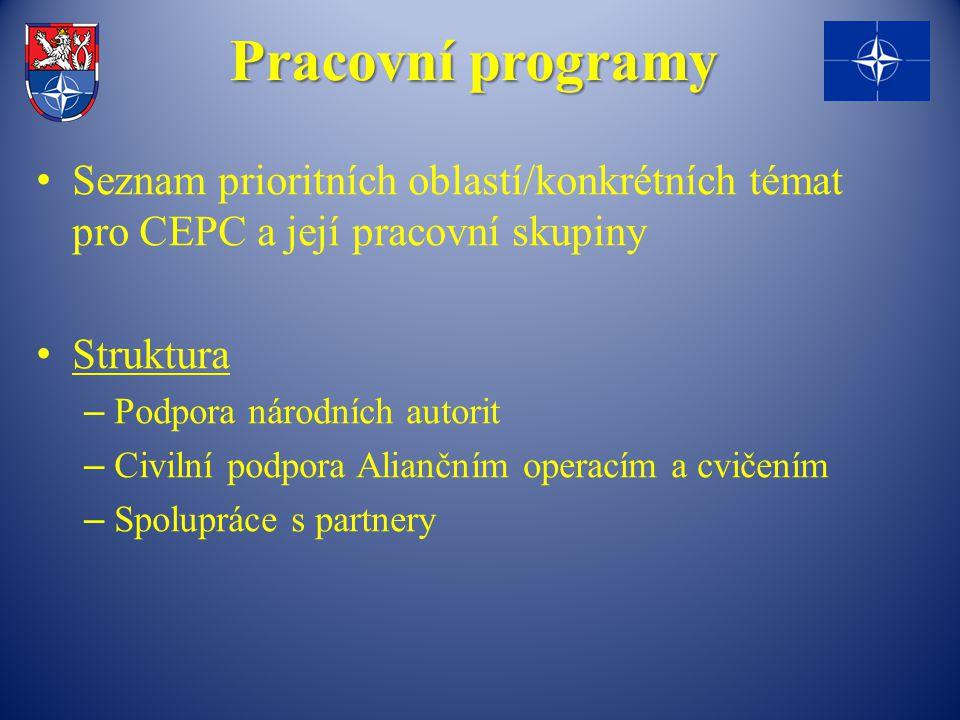 Pracovní programy Seznam prioritních oblastí/konkrétních témat pro CEPC a její pracovní skupiny. Struktura.
