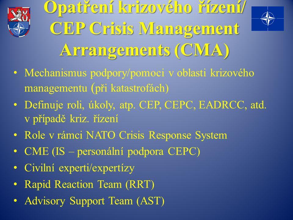 Opatření krizového řízení/ CEP Crisis Management Arrangements (CMA)