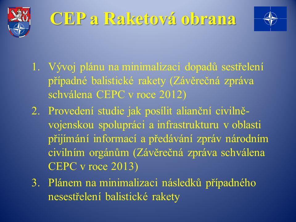 CEP a Raketová obrana Vývoj plánu na minimalizaci dopadů sestřelení případné balistické rakety (Závěrečná zpráva schválena CEPC v roce 2012)
